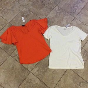 2 NEW J.Crew size XS tops shirts orange off-white